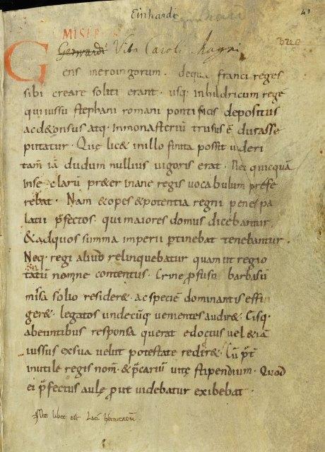 Einsiedeln, Stiftsbibliothek, Codex 323(1065): Alexander ad Aristotelem, De situ Indiae; Vita Karoli Magni et Simeonis reclusi.