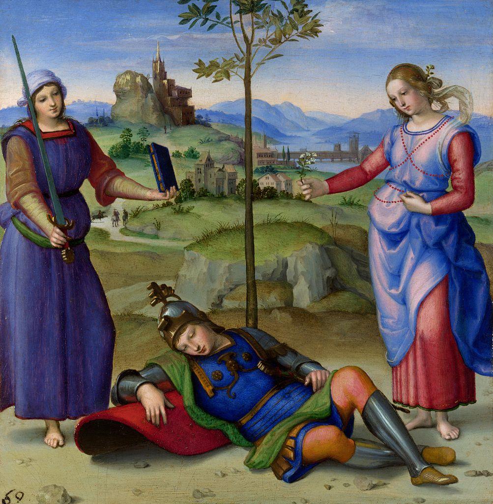 "Rafael Sanzio, ""Sogno del cavaliere"" (1504), National Gallery, Londres"