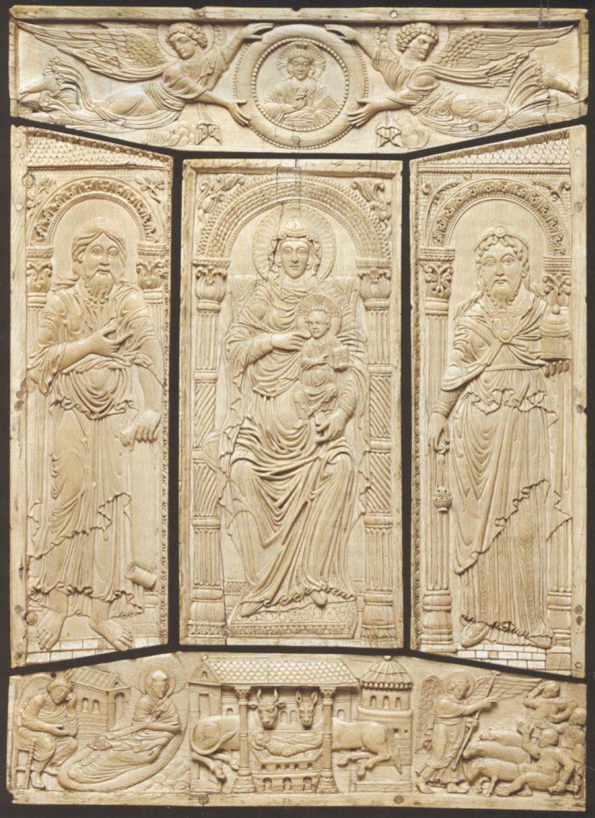 Cubierta de marfil dle Evangelario, c. 810, Carolingian, Victoria and Albert Museum