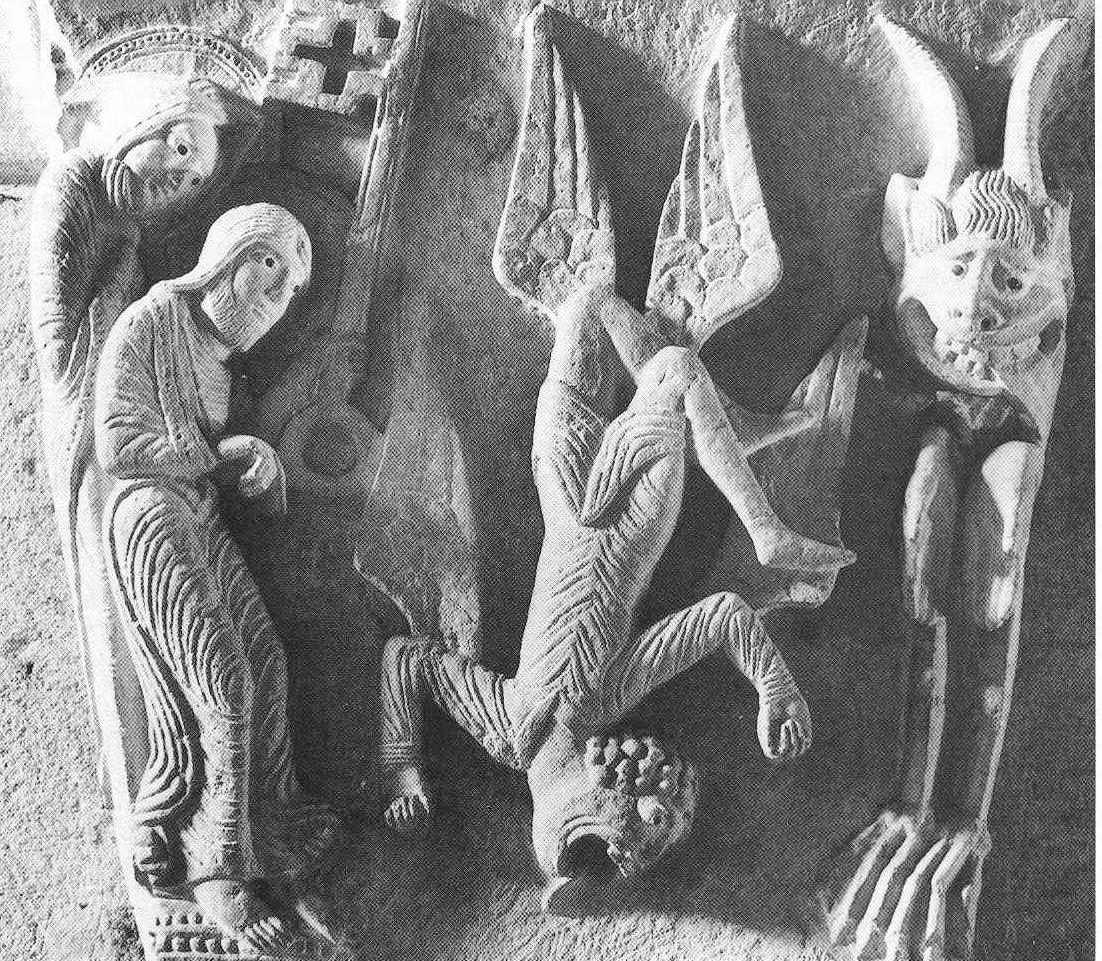 Caída de Simón el Mago. Capitel, Basílica de Saint-Sernin, siglo XI.