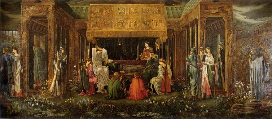 El sueño del rey Arturo en Avalón (1898), de Edward Coley Burne-Jones.