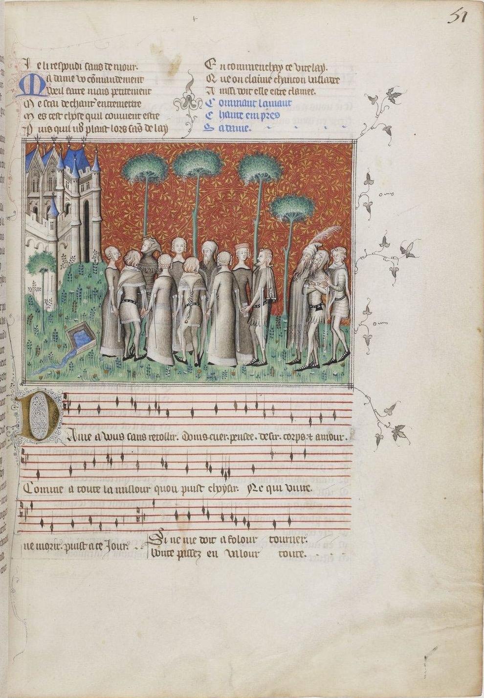 Remède de Fortune, Mns Franc., 1586, fl.51r, BNF. (ca. 1350-1355)