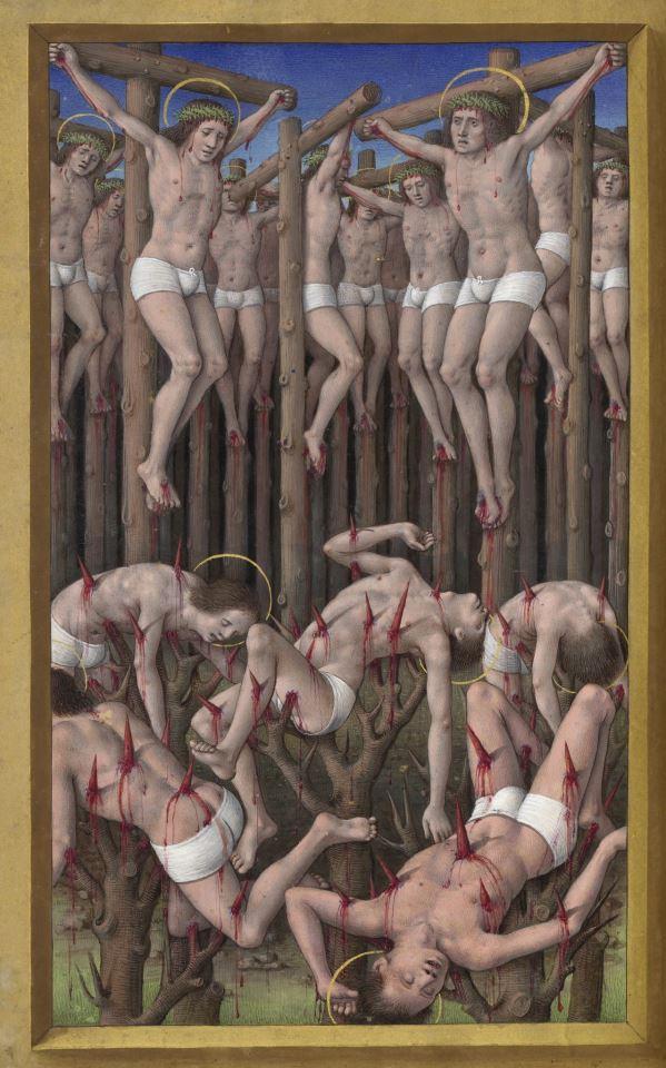 Martires del monte Ararat Les Grandes Heures d'Anne de Bretagne, Jean Bourdichon, Tours or Paris 1503-1508 (BnF, Latin 9474, fol. 177v)