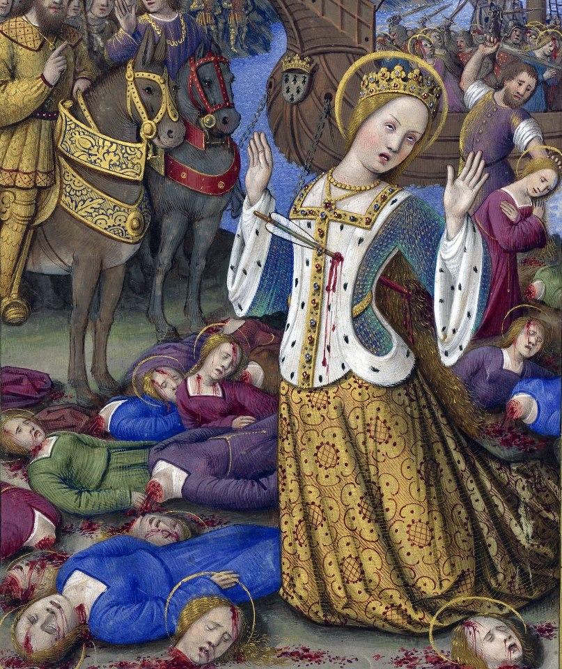 Martirio de Santa Ursula y las Once Mil vírgenes, en Les Grandes Heures d'Anne de Bretagne, Jean Bourdichon, Tours or Paris 1503-1508 (BnF, Latin 9474, fol. 199v)