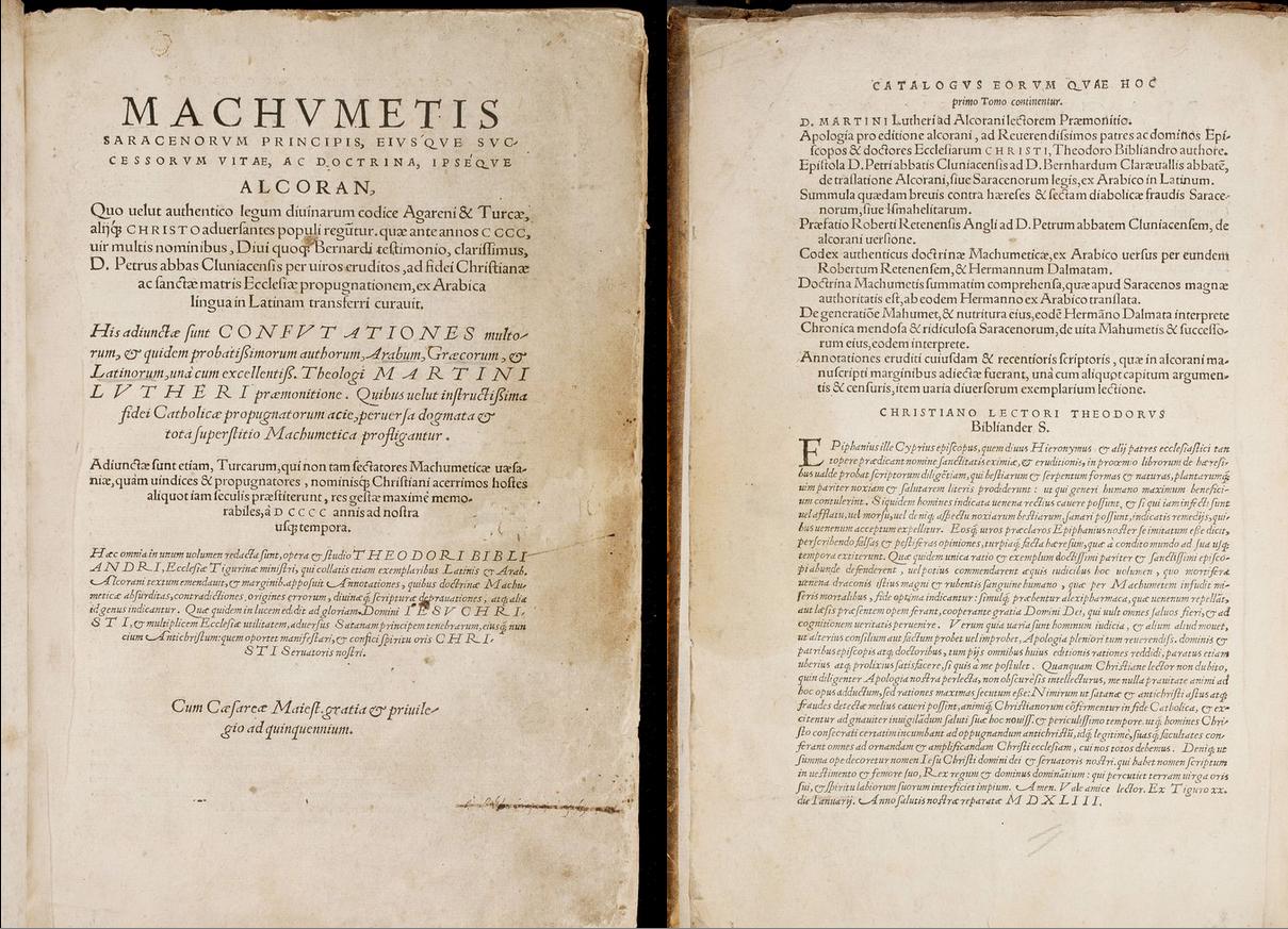 """Machvmetis Saracenorvm Principis eivsq́ve svccessorvm vitae, ac doctrina, ipséqve Alcoran"", impreso en Basilea (ca. 1542)"
