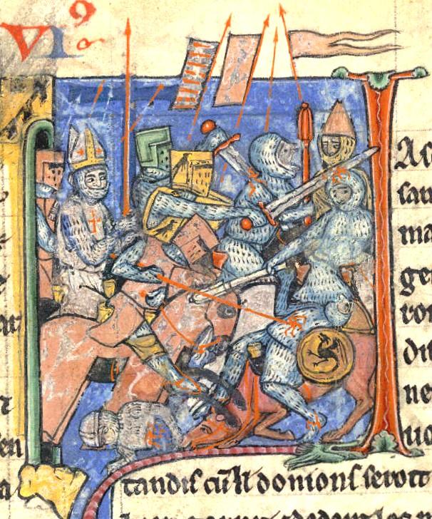Ademar de Monteil en una batalla de la Primera Cruzada.